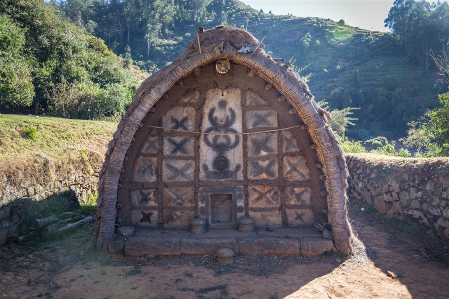 The entrance of a typical Toda tribe temple