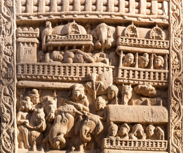 Procession of king Suddhodana from Kapilavastu. At the top - Maya, the queen, is seen lying in a pavilion of the palace, and on her is descending the Bodhisattva in the form of a white elephant