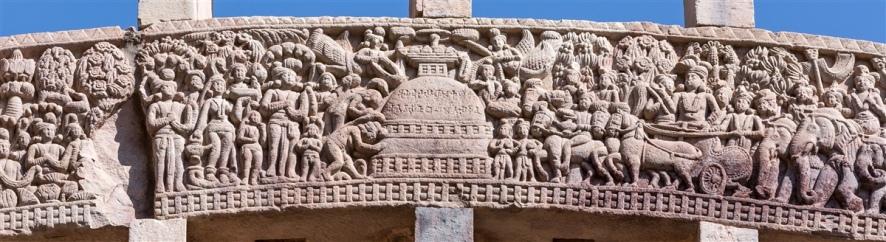 Ashoka visits Ramagrama to take Buddha's relics from the Nagas