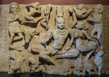 Uma Maheshvaramurti ceiling slab from Aihole. 7th century A.D.