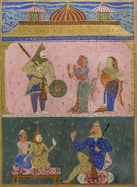 Laur receiving lessons in warfare from his teacher Ajai. Circa 1550 A.D.