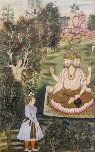 Brahma and Indra, illustrated folio from Razmnama (Persian translation of Mahabharata). 1598 A.D.
