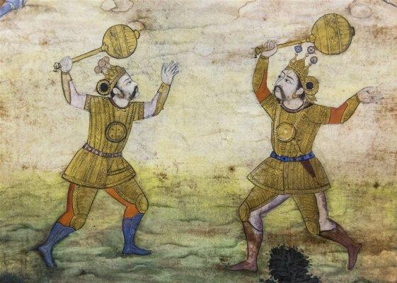Duel between Duryodhan and Bhima. Illustrated folio from Razmnama (Persian translation of Mahabharata). 1598 A.D.