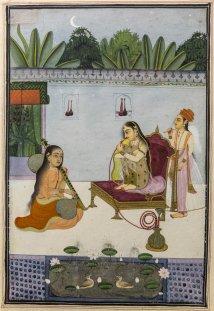 Woman smoking a Hiqqa, Bundi. Mid 18th century A.D.