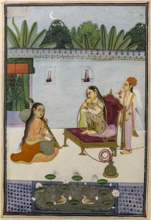 Woman smoking a Hiqqa, Bundi. Mid 18th century A.D.