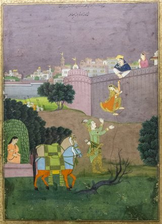 Escape of Rani Rupmati with Baj Bahadur, Jaipur. 19th century A.D.