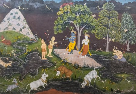 Krishna playing ball game with friends, Udaipur. Early 18th century A.D.