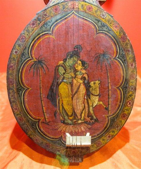 Musical instrument depicting Radha-Krishna, Sawantwadi. 19th century A.D.