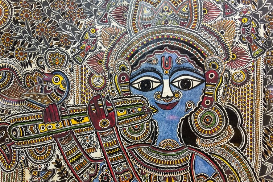 Krishna in Vrindavana, Mandubani. 20th century A.D.