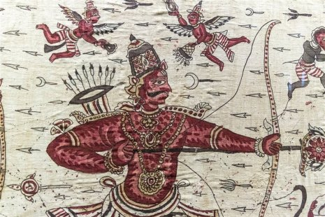 Ceremonial cloth with scenes from Ramayana, traded to Indonesia. Late 18th century A.D.