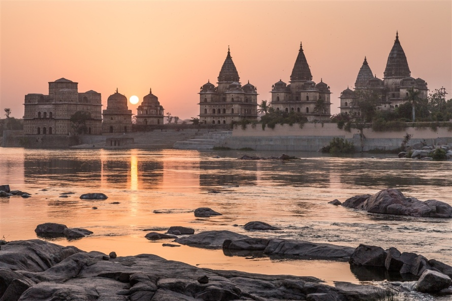 Orchha Chhatris at Sunset