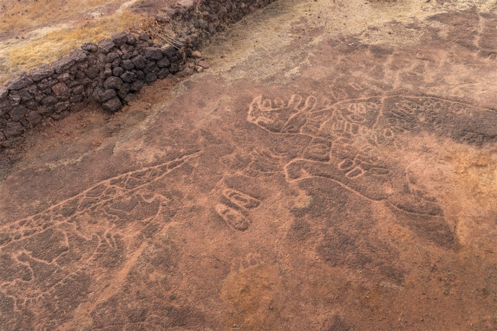 Chave Dewood petroglyphs by boundary wall