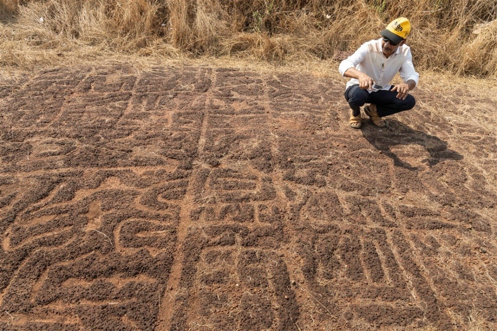 Sudhir Risbud discussing the geometric and complex petroglyph at Niwale