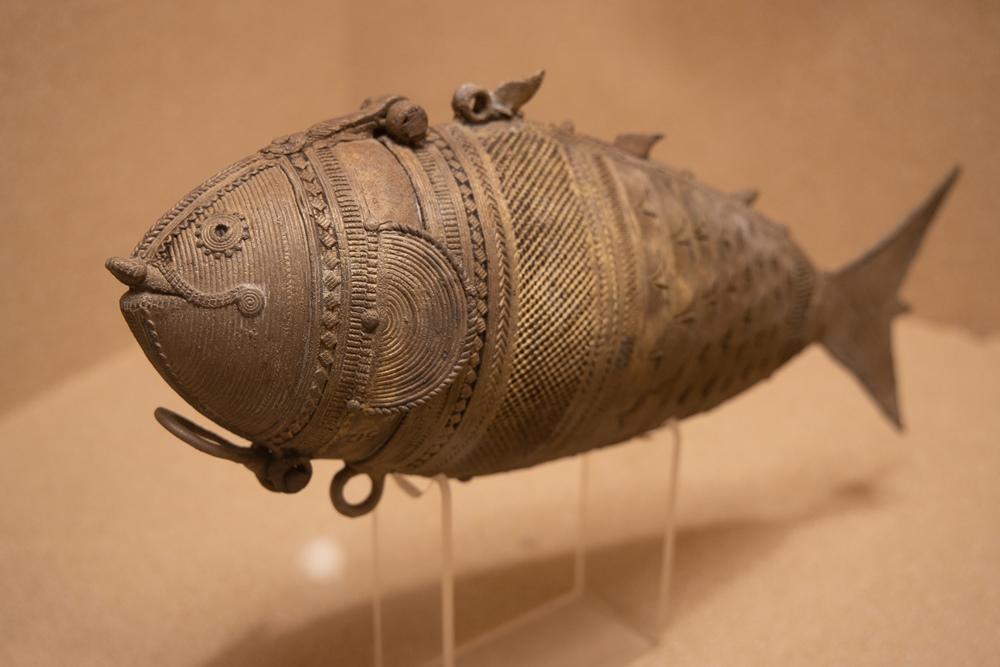 Fish shaped Dhokra coin box, 19th century